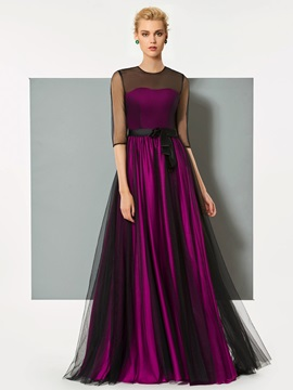 Ericdress A-Line Button Half Sleeves Bowknot Long Evening Dress