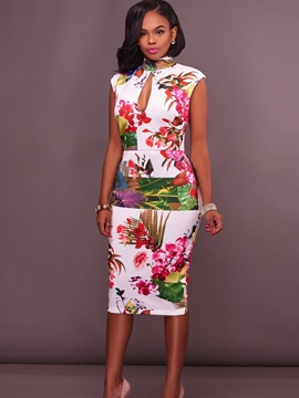 Ericdress Stand Collar Floral Backless Sheath Dress