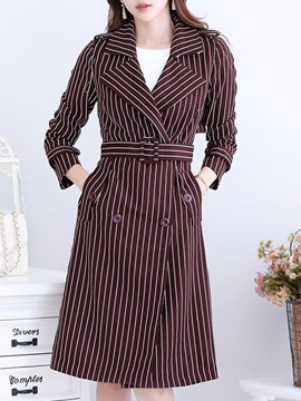 Ericdress langstreifen double-breasted trenchcoat