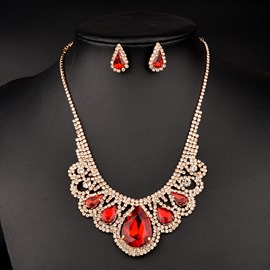 Ericdress Rhinestone Ruby Inlay Wedding Accessories Jewelry Set