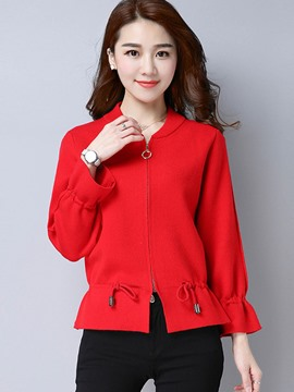 Ericdress Plain Zipper Flare Sleeve Jacket