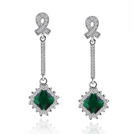 Ericdress Chic Square Emerald Drop Earring for Women