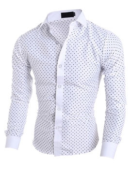 Men's Clothing Polka Dots Printed Lapel Slim Fit Shirt