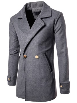 Ericdress Double-Breasted Solid Color Men's Trench Coat