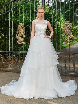 Ericdress Ball Gown Appliques Beaded Tulle Wedding Dress