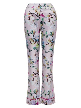 Slim Flower Print Full Length Women's Trousers