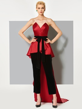Ericdress Sheath Bowknot Sashes Sweetheart Prom Jumpsuit With Court Train