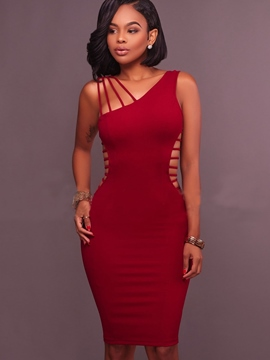 Ericdress Plain Hollow Backless Bodycon Dress