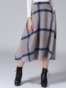 Ericdress Plaid Mid-Calf Usual Skirts