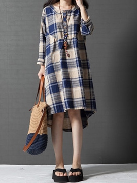 Ericdress Plaid High-Low Mori Girl Casual Dress