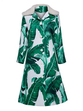 Ericdress A Line Plant Print Button Coat