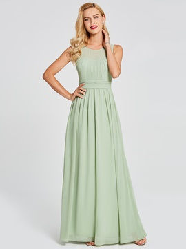 Ericdress Scoop Neck Pleats Chiffon Bridesmaid Dress