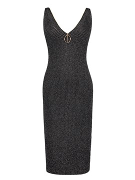 Ericdress Spaghetti Strap V-Neck Zipper Sweater Dress