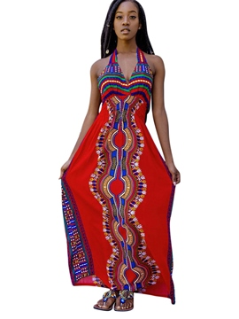Ericdress Halter Backless Ankle-Length Ethnic Maxi Dress