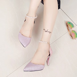 Ericdress Pointed Toe Plain Stiletto Heel Pumps with Beads