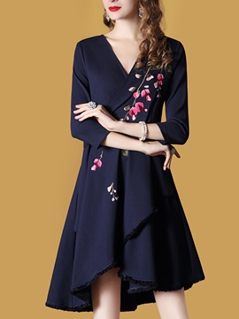 Ericdress Asymmetric Embroidery Lace-Up A Line Dress