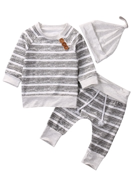 Ericdress Stripe Long Sleeve T-shirt And Pant With headdress Boys Outfit Set