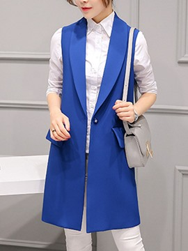 Ericdress I Type Mid-Length Plain Notched Lapel Vest