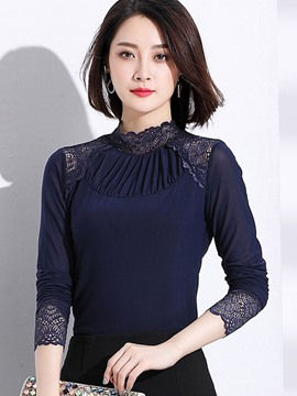 Ericdress Plain Stand Collar Lace Hollow Blouse