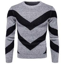 Ericdress Scoop Color Block Stripe Men's Slim Fit Casual Sweaters