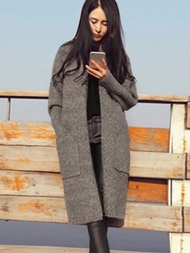 Ericdress Loose Plain Pocket Long Knitwear