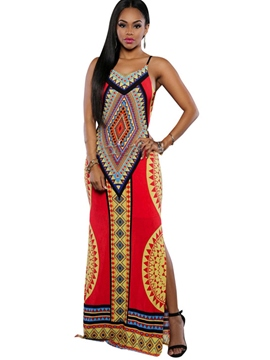Ericdress Geometric Ethnic Backless Maxi Dress