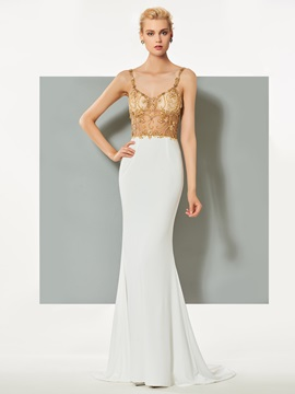 Ericdress Spaghetti Straps Beading Mermaid Evening Dress With Sweep Train