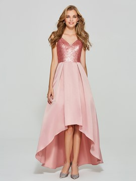 Ericdress A Line V Neck High Neck Asymmetry Homecoming Dress