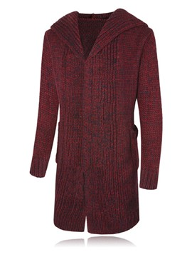 Ericdress Solid Color Hooded Men's Cardigan Sweater