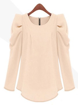 Ericdress Plain Zipper Puff Sleeve Blouse