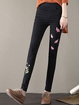 Ericdress Embroidery Pocket Pencil Pants