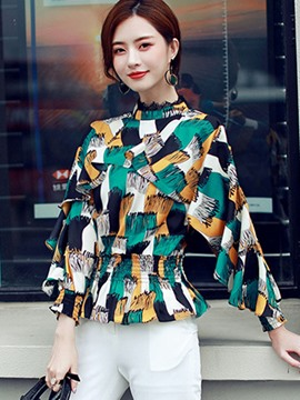 Ericdress Collect Waist Print Falbala Blouse