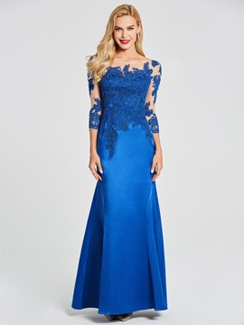 Ericdress 3/4 Sleeve Bateau Neck Applique Mermaid Evening Dress In Floor Length
