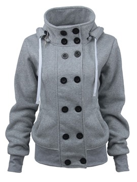 Ericdress Plain Double-Breasted Thick Cool Hoodie
