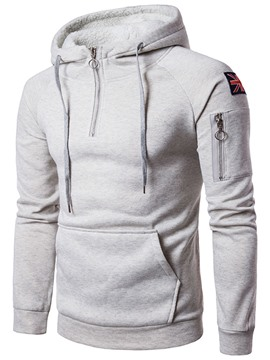 Ericdress Hooded Zipper Slim Men's Hoodie
