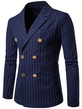 Ericdress Stripe Double-Breasted Slim Men's Blazer