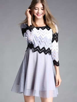 Ericdress Hollow Patchwork 3/4 Length Sleeves A Line Dress
