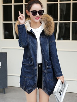 Ericdress Loose Mid-Length Hooded Denim Coat
