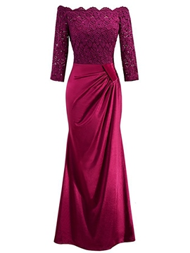 Ericdress Slash Neck Floor-Length Lace Maxi Dress