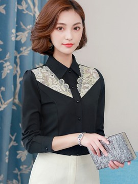 Ericdress Lapel Single-Breasted See-Through Blouse