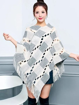 Ericdress Vintage Asymmetric Tassel Color Block Cape