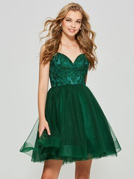Ericdress una línea spaghetti correas applique backless homecoming vestido