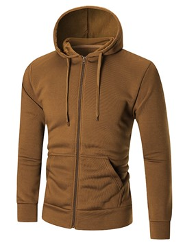 Ericdress Hooded Zipper Slim Solid Color Men's Hoodie