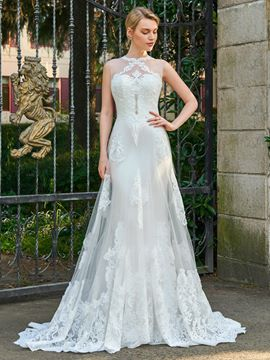 Ericdress Jewel Sheath Appliques Tulle Wedding Dress
