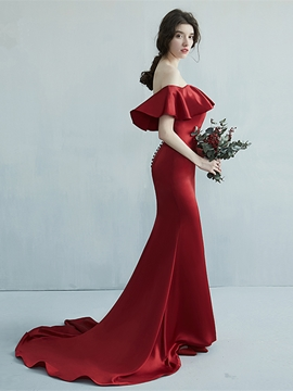 Ericdress Off The Shoulder Mermaid Evening Dress With Court Train