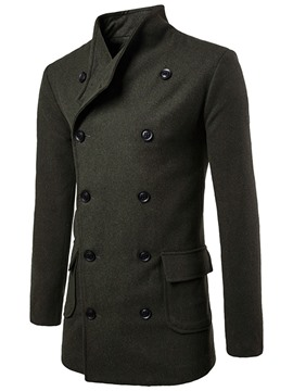 Ericdress Solid Color Double-Breasted Men's Trench Coat