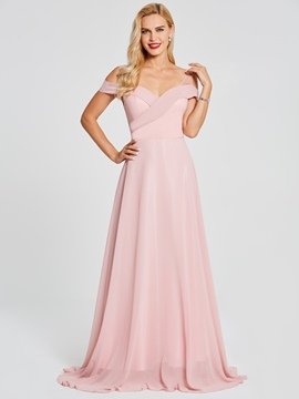 Ericdress Off-The-Shoulder A Line Pink Evening Dress