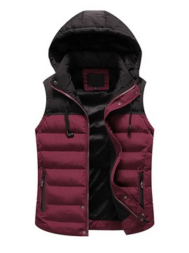 Ericdress Hooded Zipper Color Block Patchwork Men's Vest
