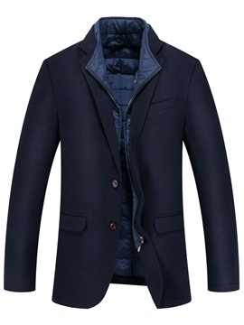 Ericdress Notched Lapel Coat Patchwork Men's Coat