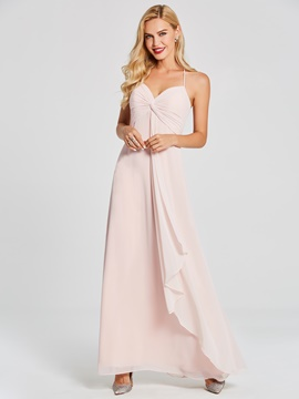 Ericdress Halter A Line Chiifon Long Bridesmaid Dress